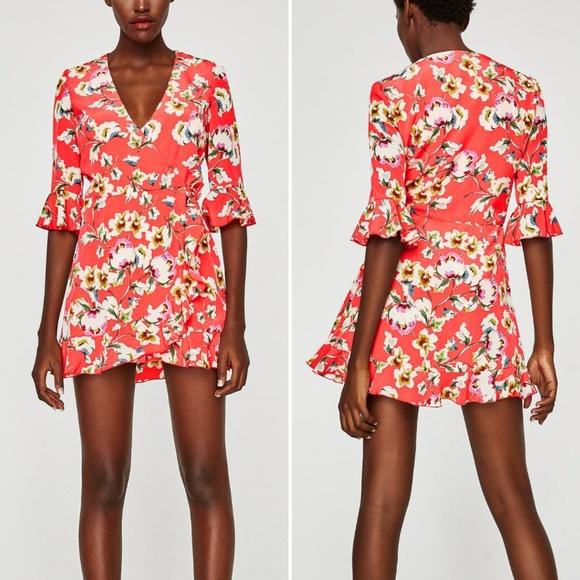05d323cc3c18 Zara Trafaluc Floral Ruffle Romper Size M NWT
